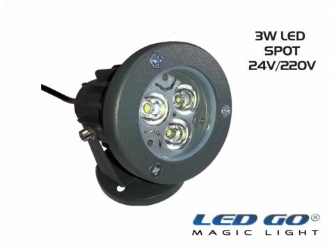 MINI LED SPOT,3W,24V DC, IP67