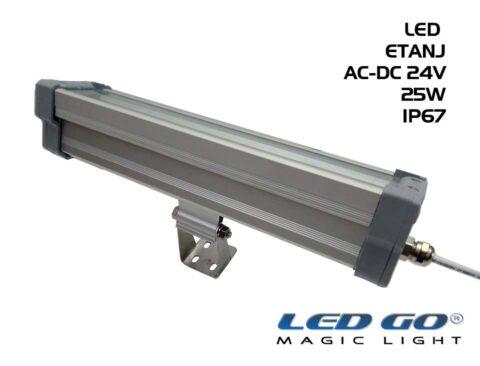 Led Go®LET-50A-24V ,Temperli Camlı LED Etanj Armatür, 50W,24V AC-DC,IP67