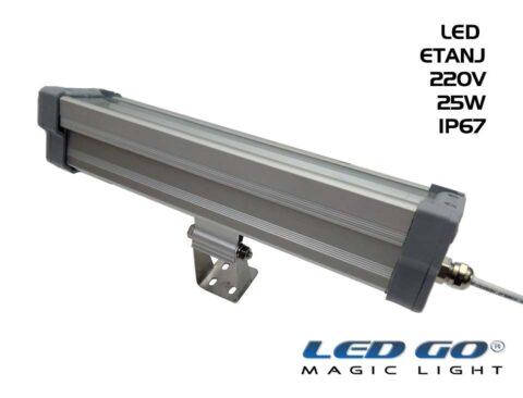 Led Go®LET-25A ,Temperli Camlı LED Etanj Armatür, 25W,220V,IP67